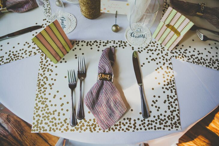 Gold Sparkly Place Mat With Napkin