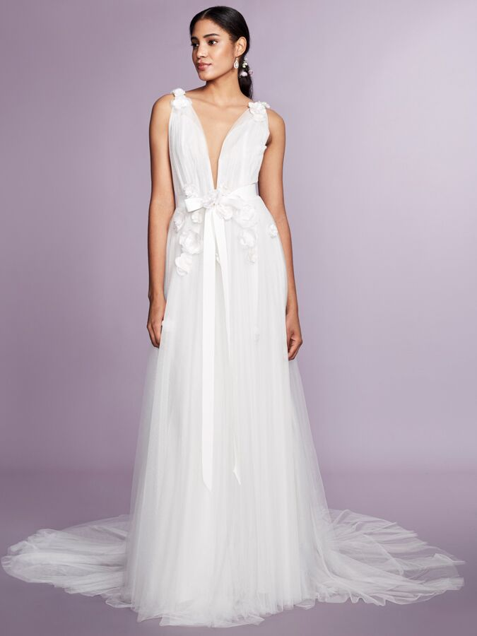 Marchesa Notte sleeveless plunging V-neck wedding dress