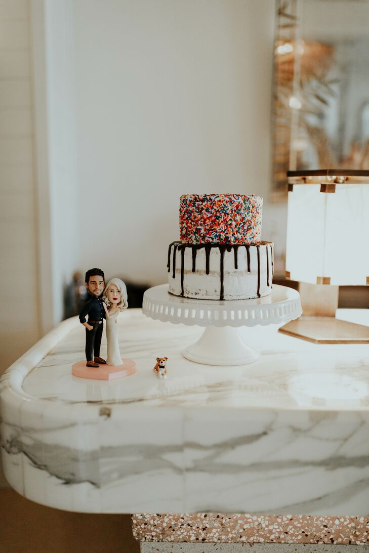 Two-Tier Wedding Cake with Sprinkles and Chocolate