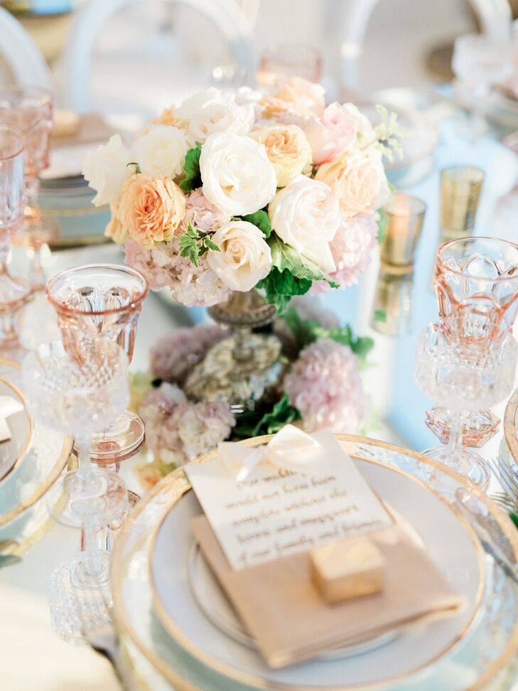 Blush And Ivory Table Settings