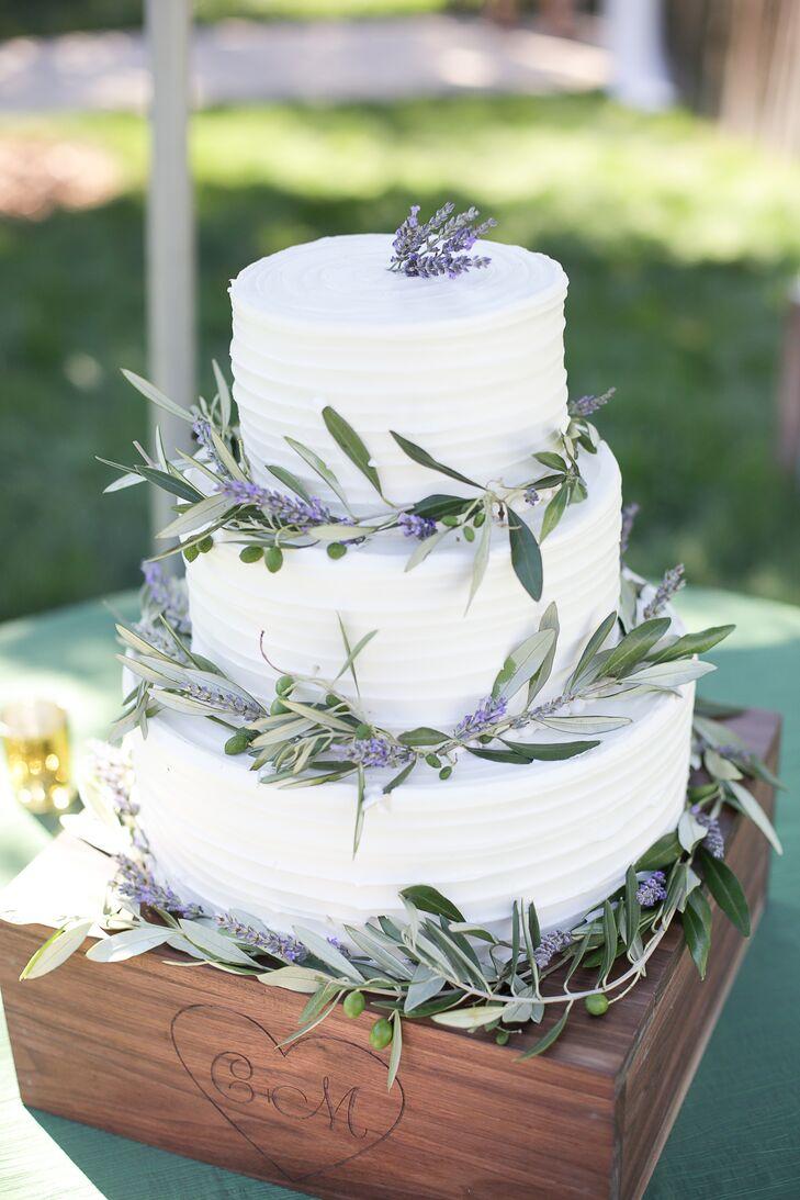 Lavender and Olive Leaf Wedding Cake