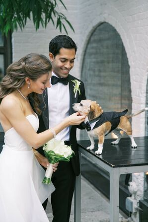 Couple with Dog Dressed in Tuxedo for Wedding at The Foundry in Long Island City, New York