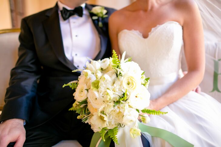 White Ranunculus and Fern Bouquet