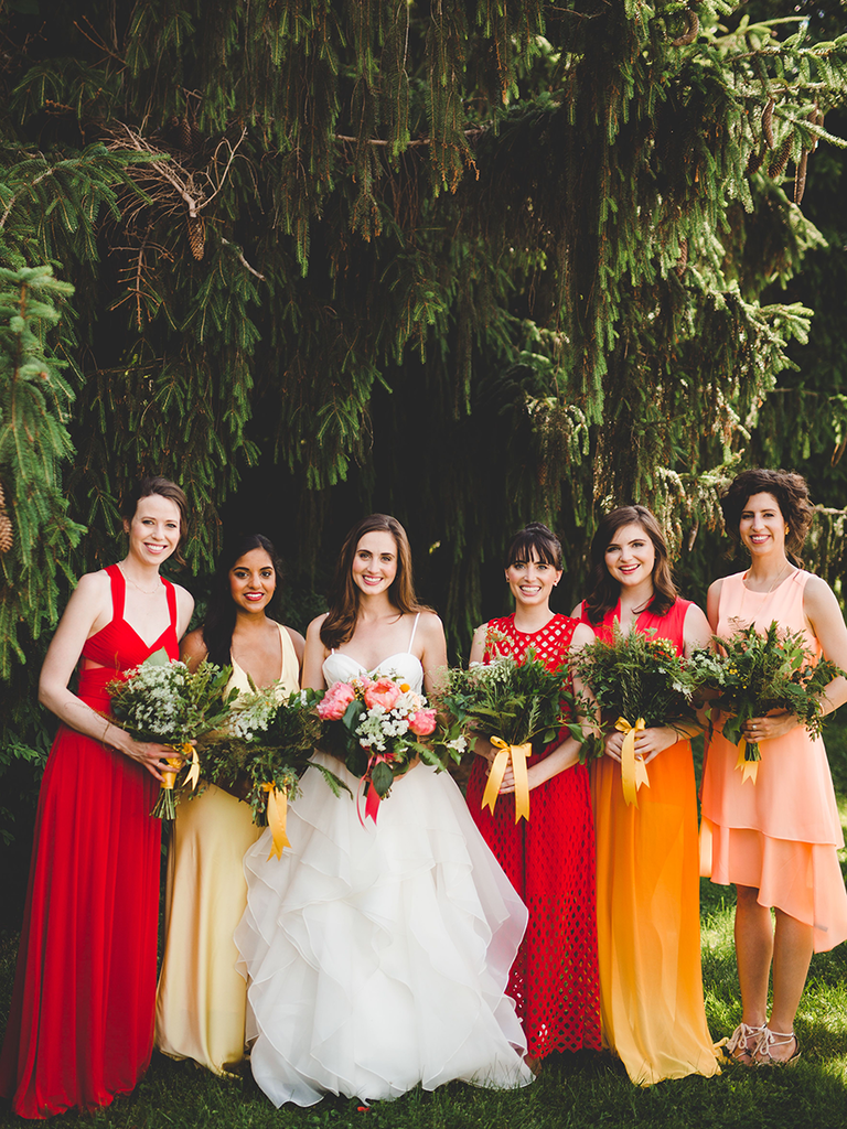 These mismatched bridesmaid dresses are the hottest trend warm fiery hued mismatched bridesmaid dresses ombrellifo Images