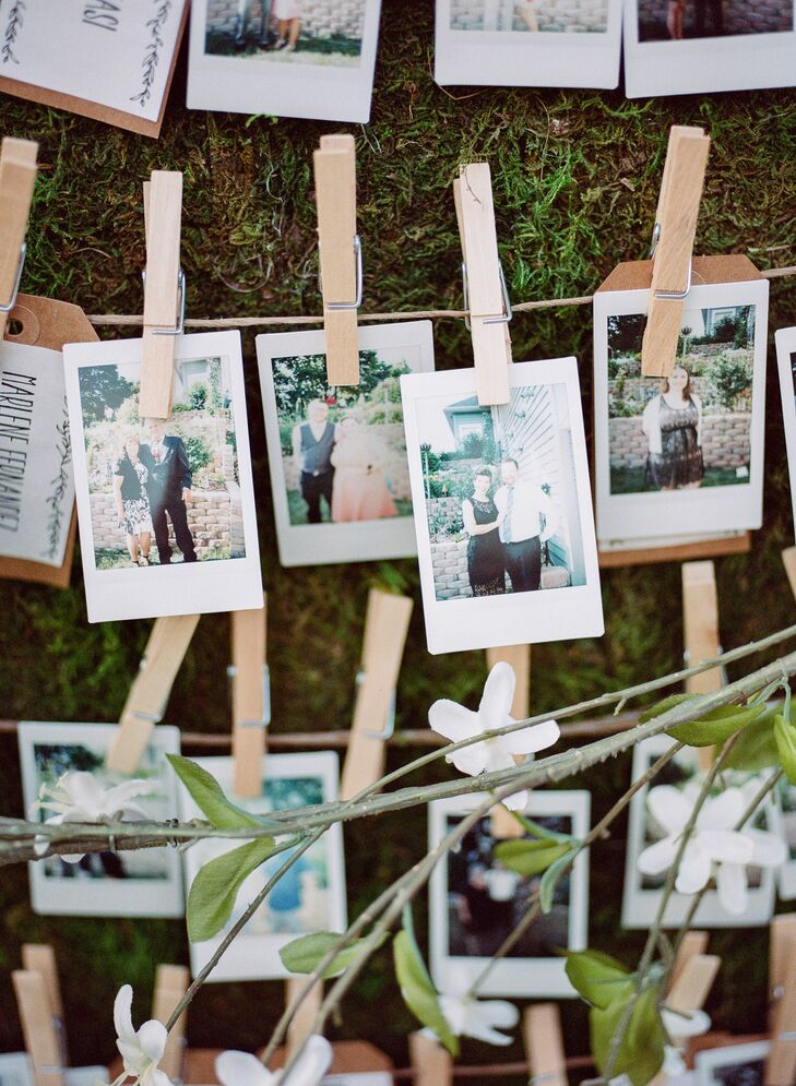 "When guests found their escort card, they had their photo taken with a Polaroid camera, then replaced their escort card with their photo. ""It was a great way to get photos of everyone who attended,"" Shelby says."