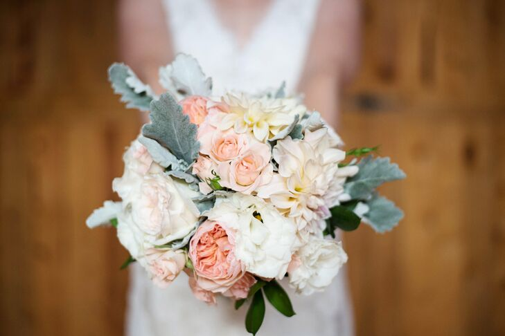 Peony, Rose and Dusty Miller Bouquet