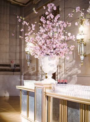Tall Cherry Blossom Flower Arrangement on Gold Bar