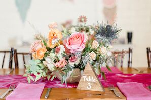 Colorful Centerpiece with Roses, Ranunculus, Wildflowers and Protea