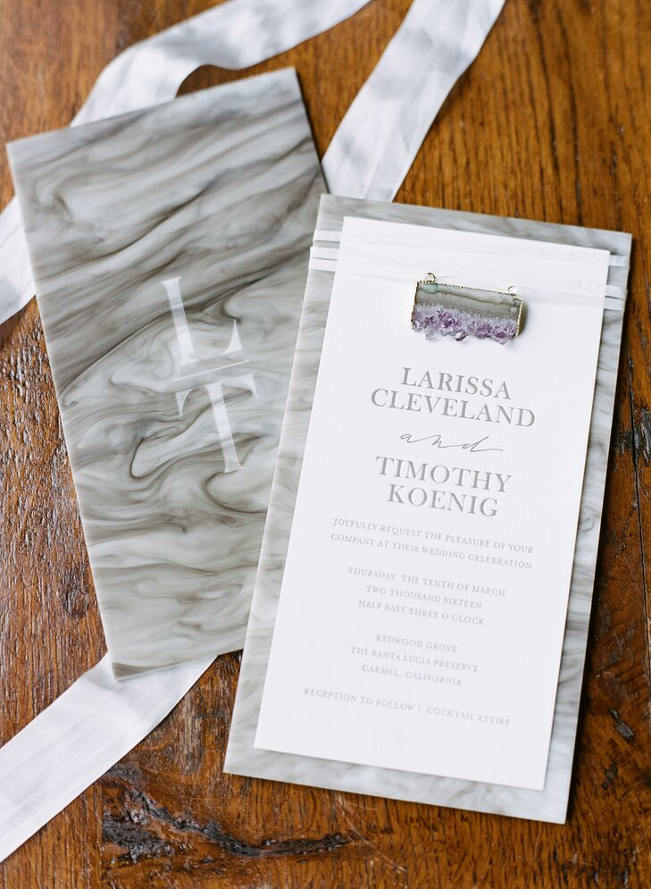 Gray and White Marbled Wedding Invitations