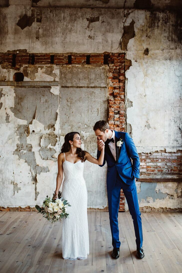 Nicole Calta (28 and a hairstylist) and Daniel Abele (29 and a construction project manager) were influenced by Nicole's intricately beaded sheath to