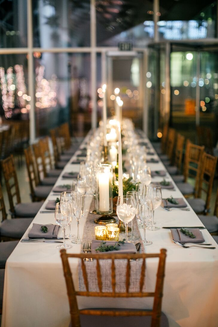 Long Dining Tables with Chiavari Chairs and Rosemary at Every Seat