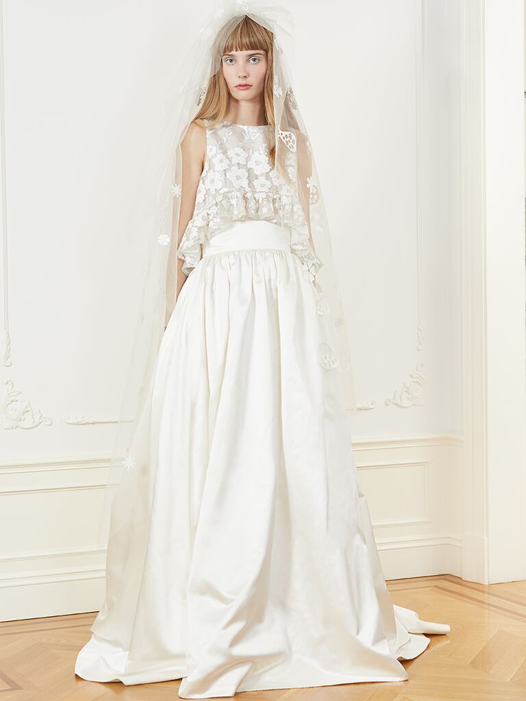 Honor dress with lace embroidered top and full skirt