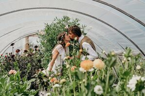 Natural, Bohemian Couple with Wildflowers