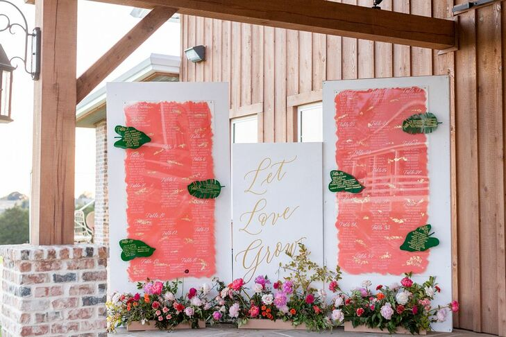 Whimsical Pink Seating Charts with Gold Calligraphy and Flowers