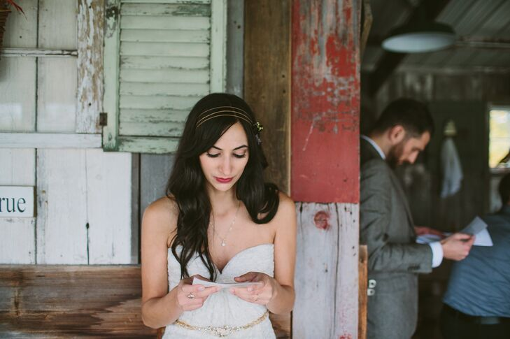 Instead of a first look, Stephanie and Ryan had a first touch, where they exchanged heartfelt letters before the ceremony.