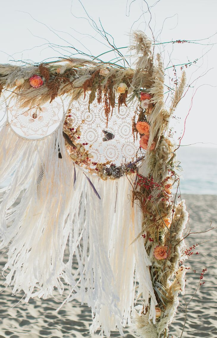 """Shortly after Dave proposed to me, my mother came to town to visit,"" Gwynne says. ""We were out shopping, and I stumbled on these beautiful handmade dream catchers. I knew I had to incorporate them into my wedding."""