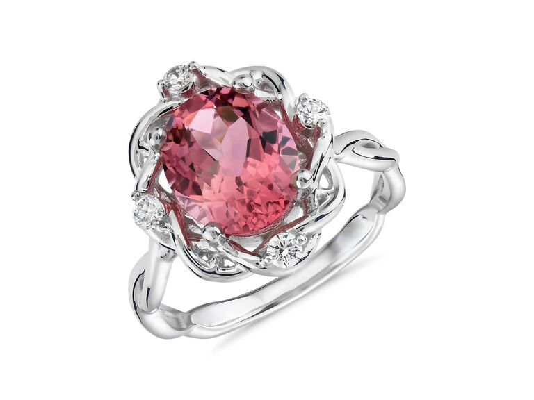 Blue Nile oval pink tourmaline and diamond weave ring in 18K white gold