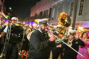 Musicians for Second Line Parade at New Orleans Wedding at Race and Religious