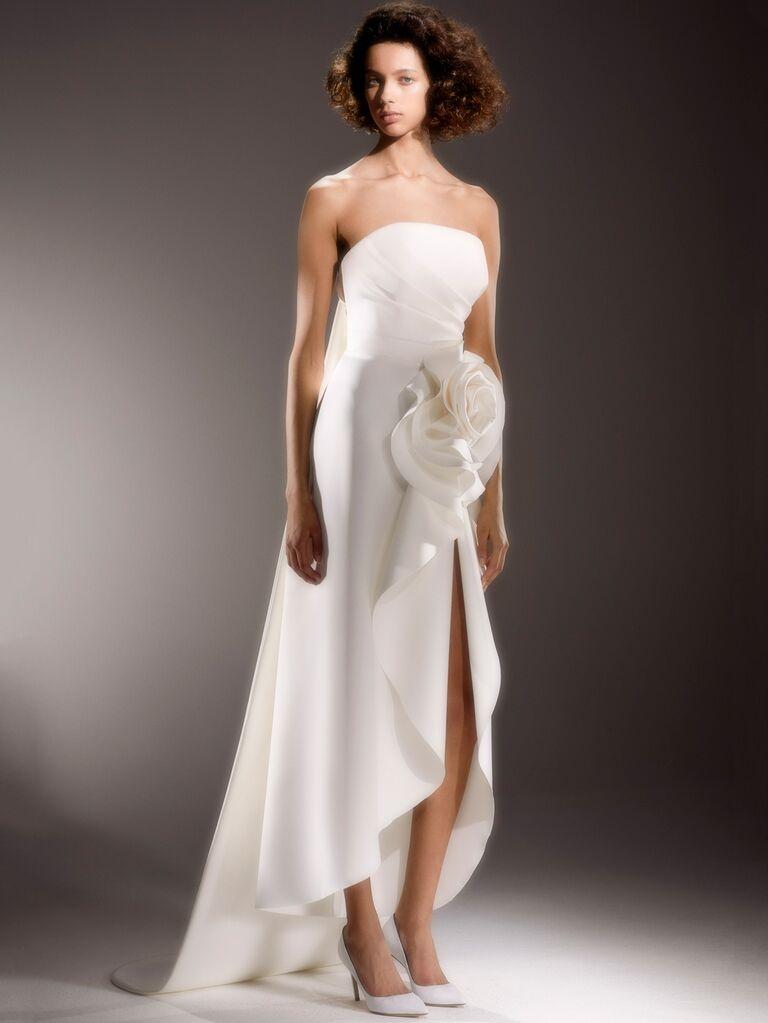 Viktor & Rolf Spring 2020 Bridal Collection asymmetrical strapless wedding dress