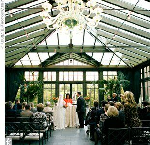 Lara and Jerome chose the Royal Park Hotel's conservatory for their 6 p.m. ceremony because the room got lots of light. During the ceremony, they exchanged gifts and lit a candle to symbolize their love.