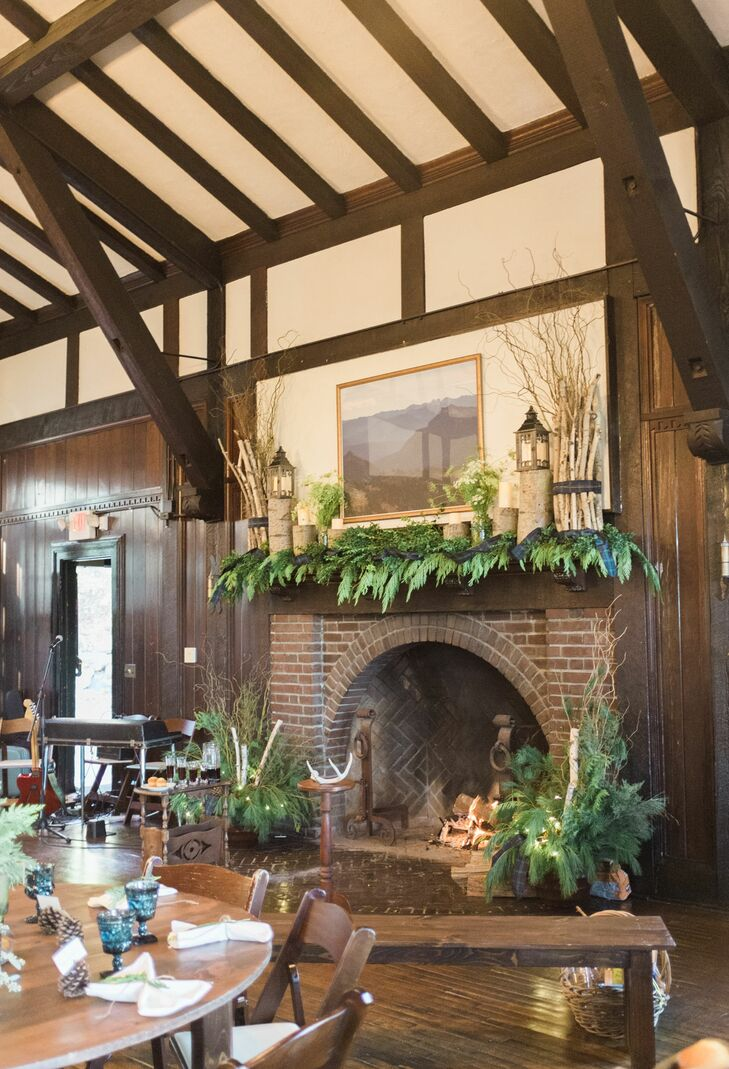 Pine and Cedar Decorated Brick Fireplace