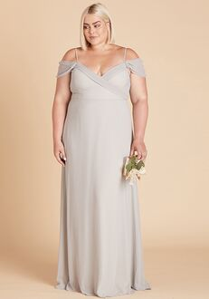 Birdy Grey Spence Convertible Dress Curve in Dove Gray V-Neck Bridesmaid Dress