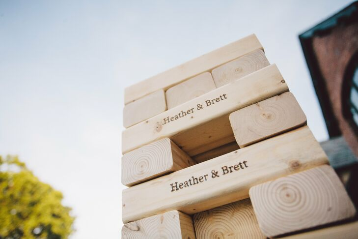 Other games, like Jenga with personalized blocks, were available for guests to play.