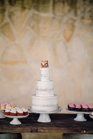 Classic Naked Cake with Bear and Fox Cake Topper