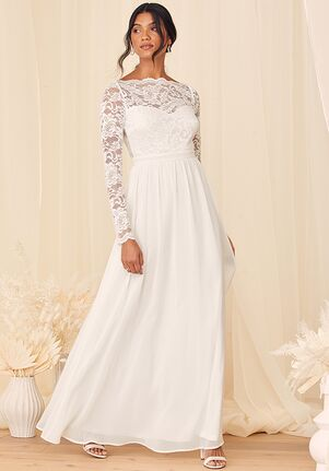 Lulus Your Ever After White Lace Long Sleeve Maxi Dress A-Line Wedding Dress