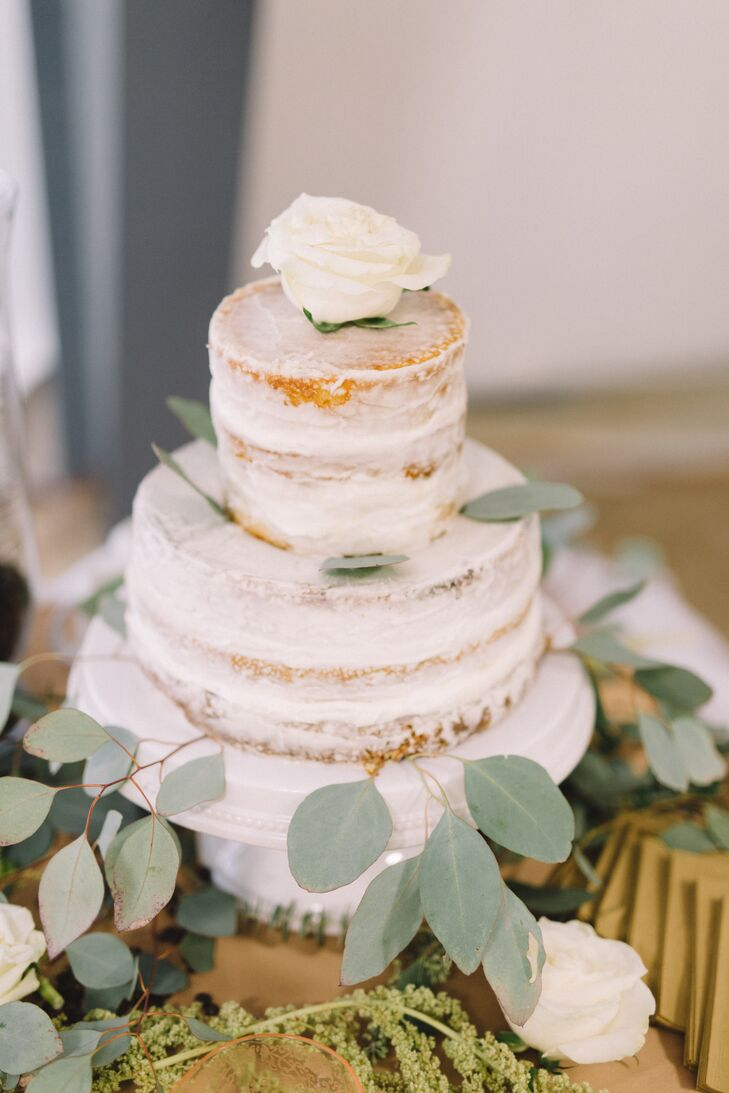 One of the bridesmaids baked a small cake for the couple, sparsely decorated with greenery and roses. The main dessert was chocolate petits fours, baked by Oriana's mom, who had owned a catering business for 25 years along with Oriana's dad before retiring.