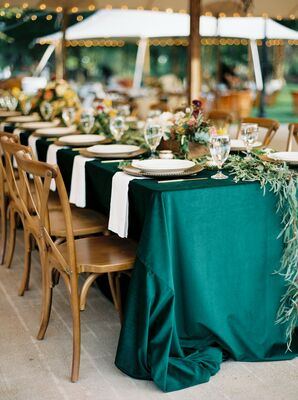 Emerald Reception Linens at Marathon, Texas Wedding