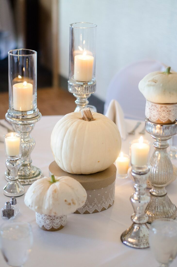 White Pumpkin and Candle Centerpieces