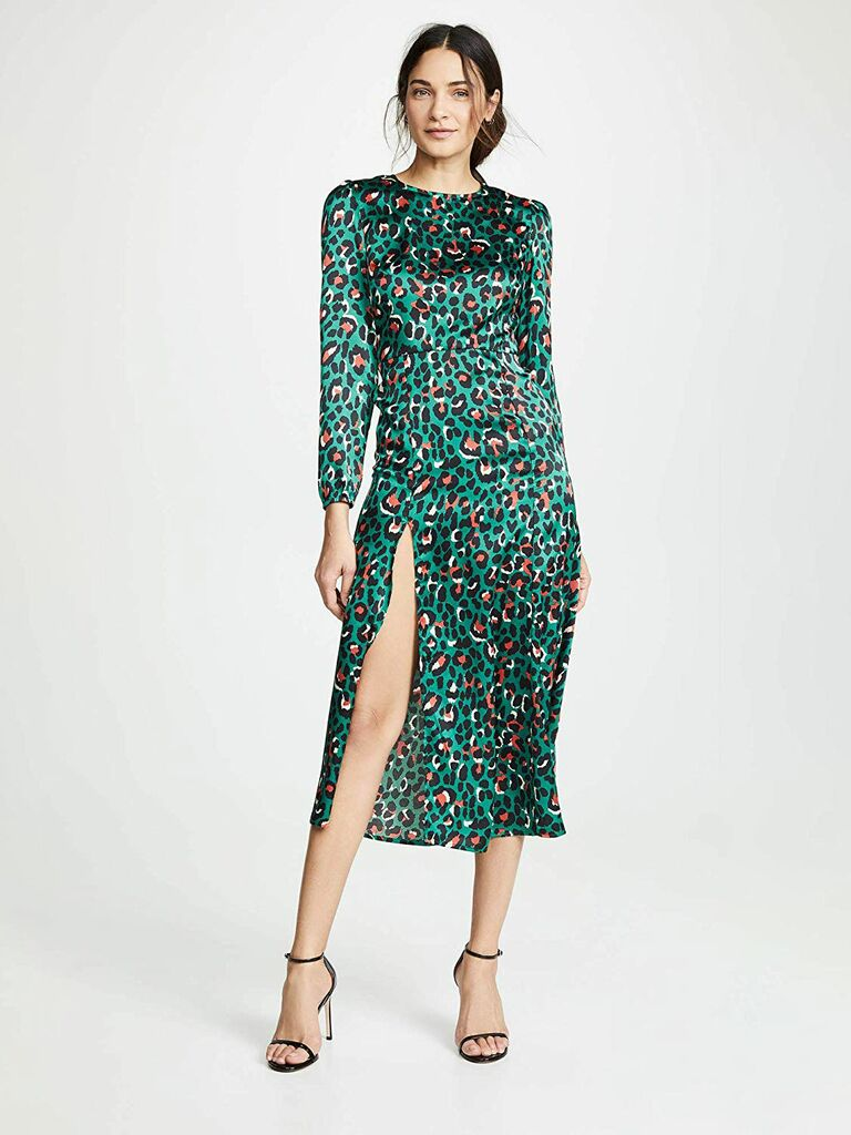 Green leopard midi wedding guest dress