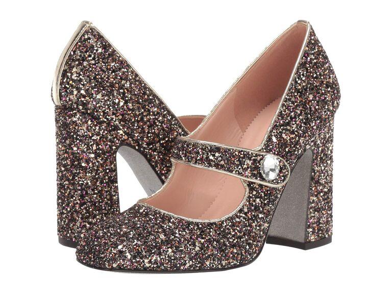 Sparkly wedding block heels