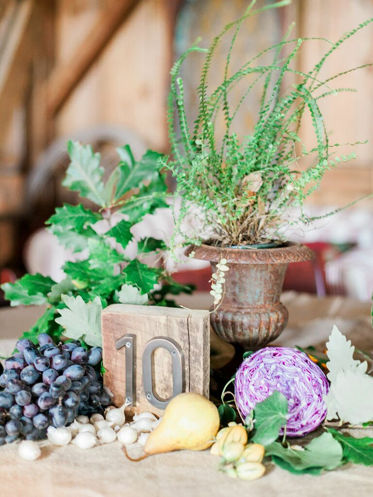 Rustic fall non-floral centerpieces for your wedding