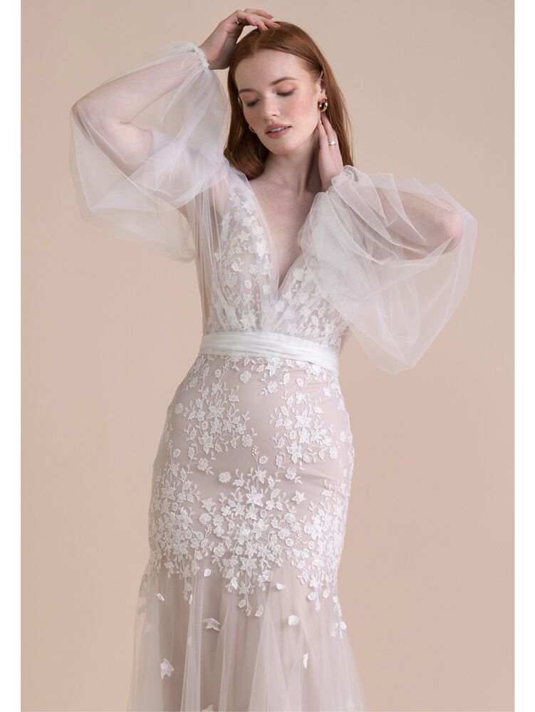 Willowby fit-and-flare tulle wedding dress with long balloon sleeves