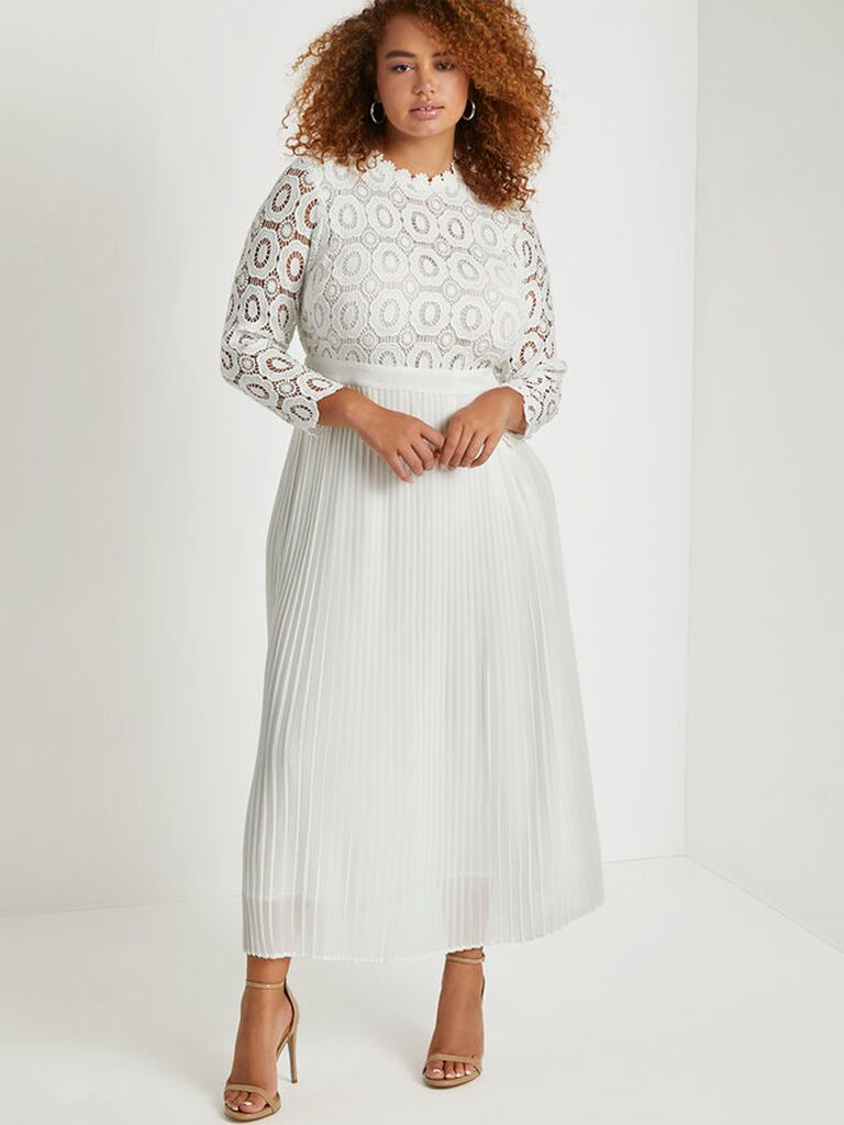 White maxi dress with lace top and pleated skirt