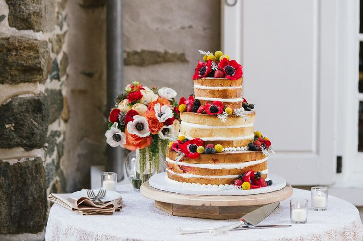 Three-tiered Cake With Floral Accents