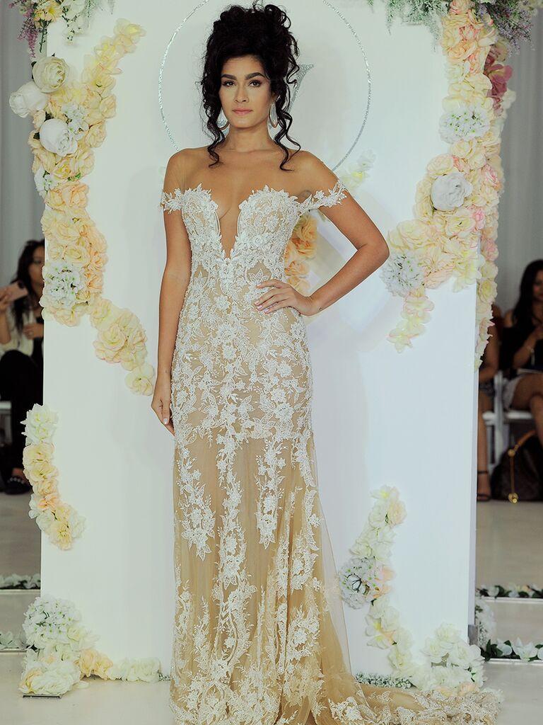 Julie Vino Fall 2018 off-the-shoulder wedding dress with nude underlay