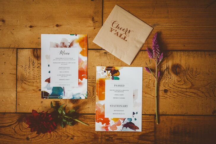 The watercolor florals were a reoccurring motif within the stationery.
