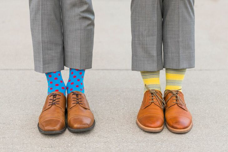 Grooms with Eclectic, Colorful, Patterned Socks