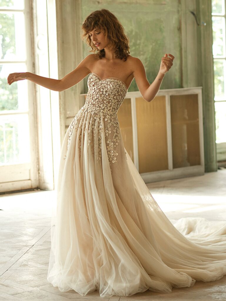 Dana Harel strapless dress with floral embroidery