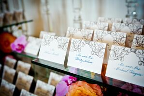 Gold and Teal Calligraphed Tented Escort Cards