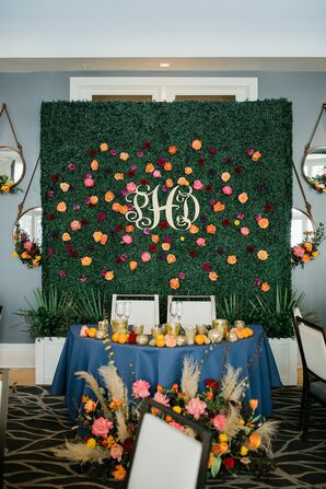 Monogrammed Backdrop for Sweetheart Table at Georgia Wedding