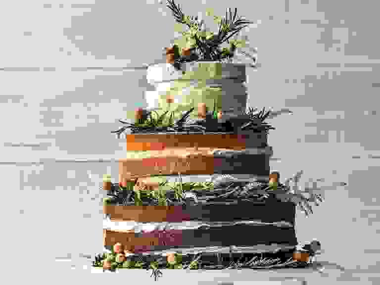 Tiered wedding cakes on display
