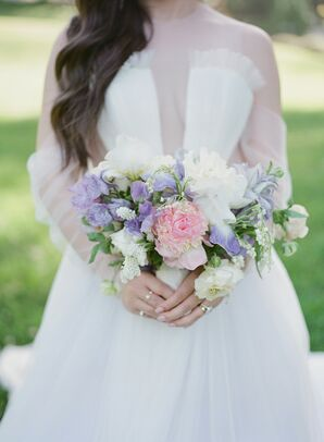 Purple Wedding Bouquet at Montalvo Arts Center in Saratoga, California