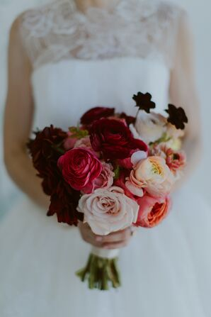 Burgundy, Coral and Peach Bouquet