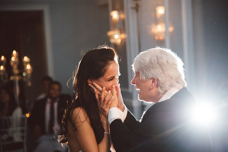 """""""My parents are lesbians and I elected to dance with each of them in addition to my godfather during my first dance,"""" says Rhea. """"After the wedding, countless people told me how great it was that I included both of my mothers. I couldn't agree more."""""""