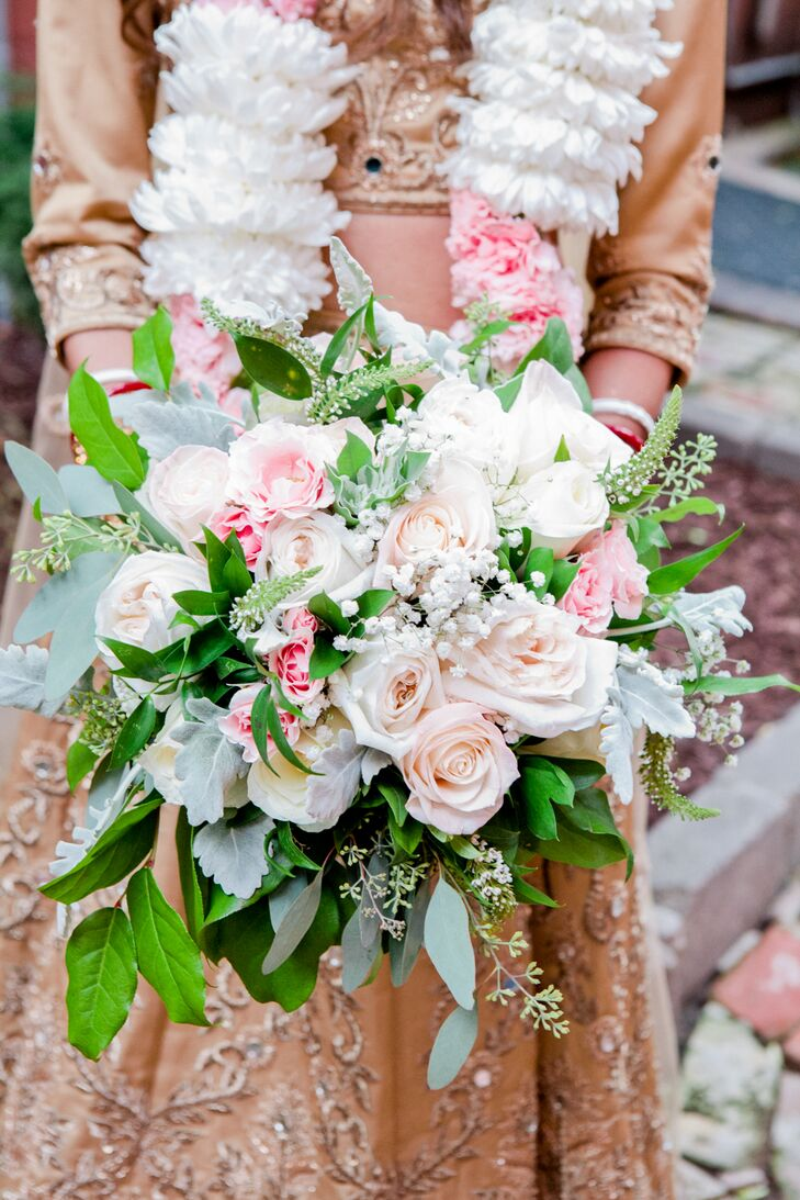Classic Rose, Veronica and Dusty Miller Bouquet
