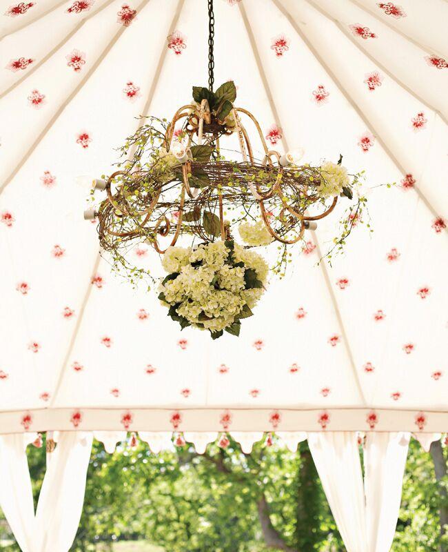Garden Inspired Vine and Floral Chandelier | Julie Wilhite Photography | Blog.TheKnot.com